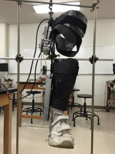 The physics department allowed us to use materials for testing. Here is the leg brace firmly held in place allowing us to test the torque output of the ankle system