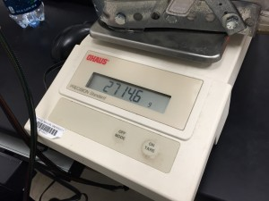 Here we weighed the completed leg brace and to our surprise it came out to be only 2.7146kg.